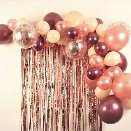 Our Rose Gold, Blush and Maroon Balloon Garland Kit has a mixture of Metallic Ro | Decoracion ...