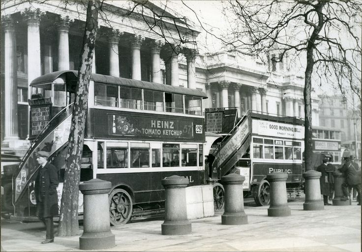 Buses in front of the National Gallery in London 1927 | Flickr - Photo Sharing! - Good Old Heinz