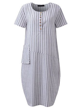 Casual Stripe O-neck Short Sleeve Loose Baggy Dress