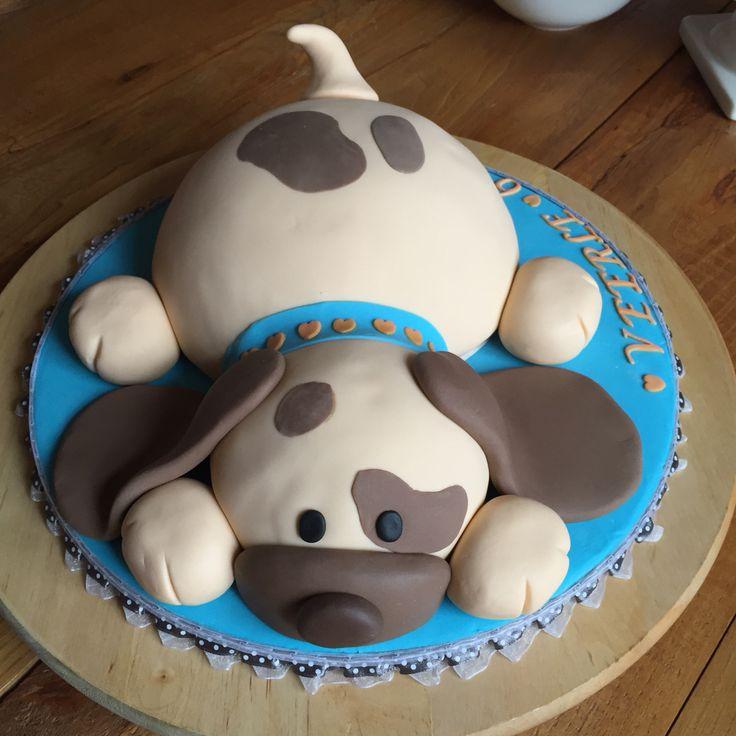 Taart hond 3D. Naar een voorbeeld van Debbie Brown. Cake dog.