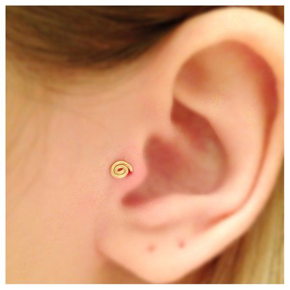 cce2afc1e Tiny 14k Gold Filled Spiral Tragus Earring, Gold Tragus Stud,Tragus Piercing,  Nose Ring, Sterling Silver Earring, Christmas Gift Ideas in 2019 | Products  ...
