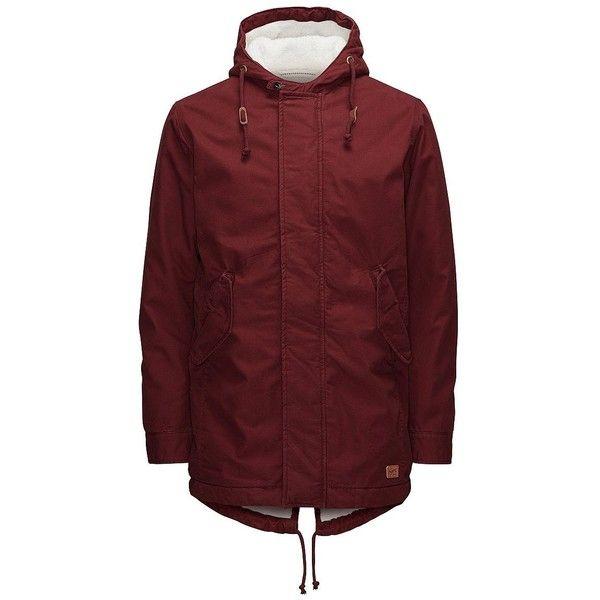 Jack & Jones Jorbenson Parka Jacket ($185) ❤ liked on Polyvore featuring men's fashion, men's clothing, men's outerwear, men's jackets, syrah, mens parka jacket, mens cotton jacket and mens hooded jackets