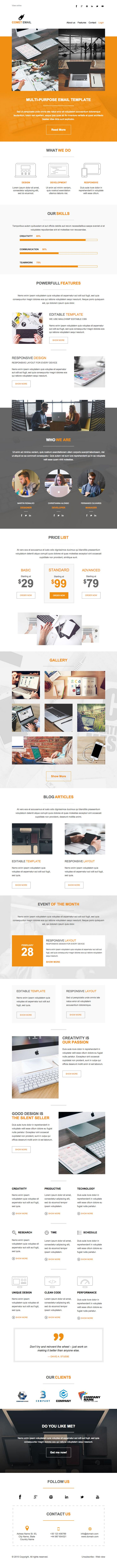 Responsive multipurpose email template for every need. Modern and minimalistic design. Enjoy it!