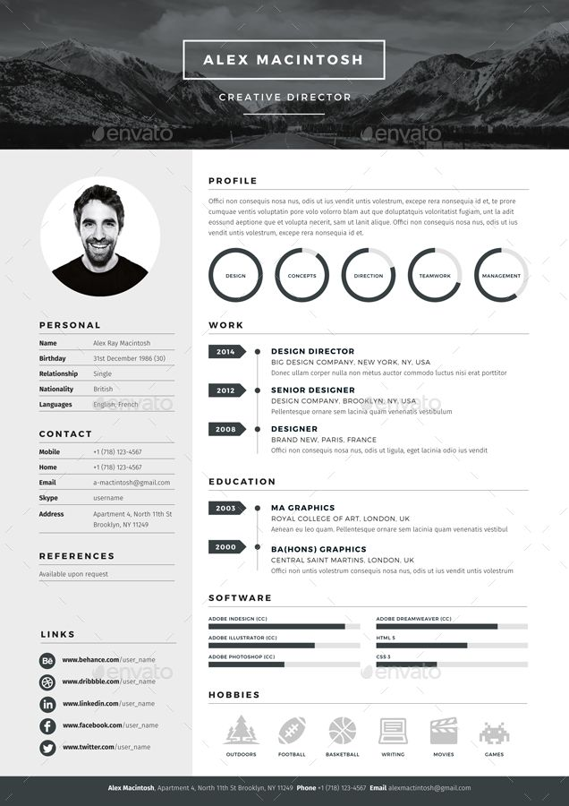 Mono Resume template by www.ikono.me 3 page templates, 90+ icons, Adobe…