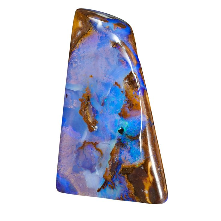 Gebohrter Opal mit violetter Matrix auf braunem Muttergestein