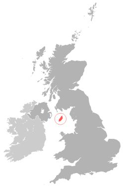 Location of theIsle of Man(red)in the British Isles(red & grey)