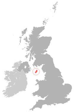 Carte de localisation de l'île de Man (en rouge)