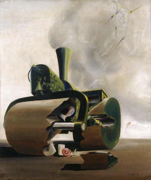 La apisonadora y la rosa,1937.Óscar Domínguez. Oil on canvas
