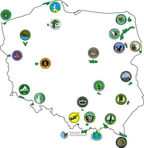 Mapa parków narodowych z logami