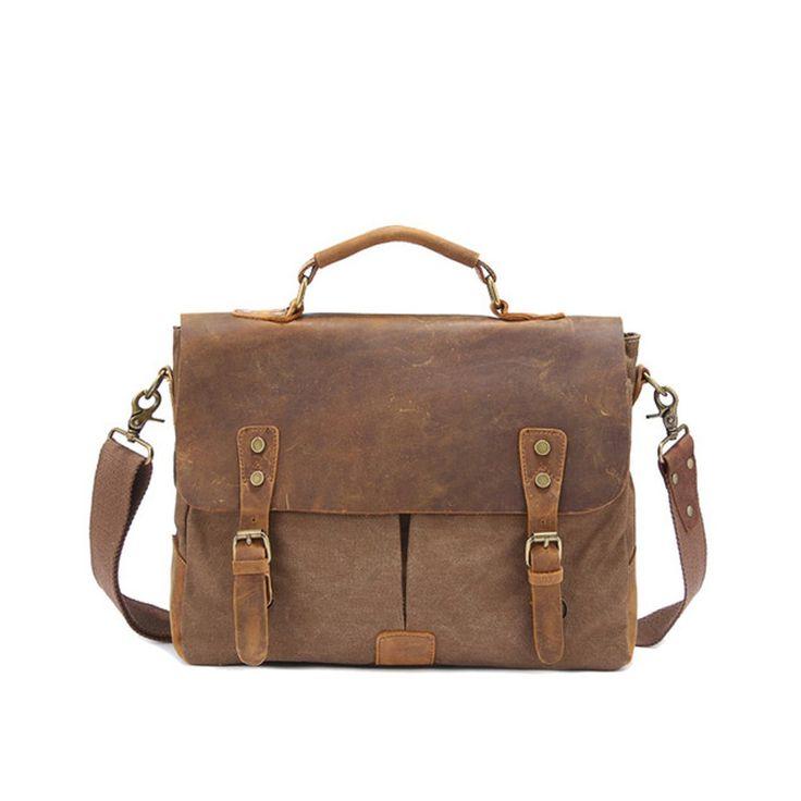 """Messenger Bag,Bienna Vintage Briefcase Canvas Leather Satchel Laptop Over Shoulder Crossbody Sling Bag Handbag Side Bags with Straps for Men School Outdoor Sports EDC 14""""-Coffee"""
