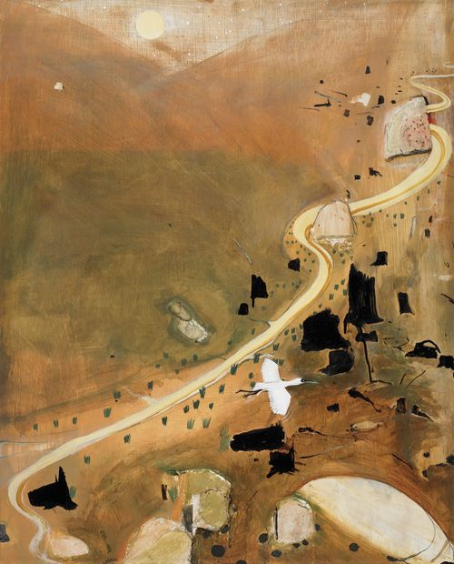 blastedheath:  Brett Whiteley (Australian, 1939-1992), The Valley at Dusk, 1983. Tempera and oil with applied stone and plaster on composition board, 102 x 83 cm.