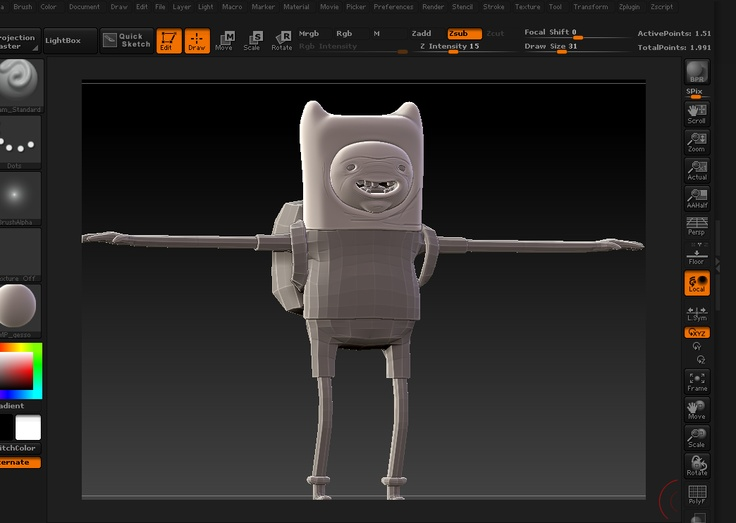 In progress shot of Finn the Human being sculpted in zbrush.