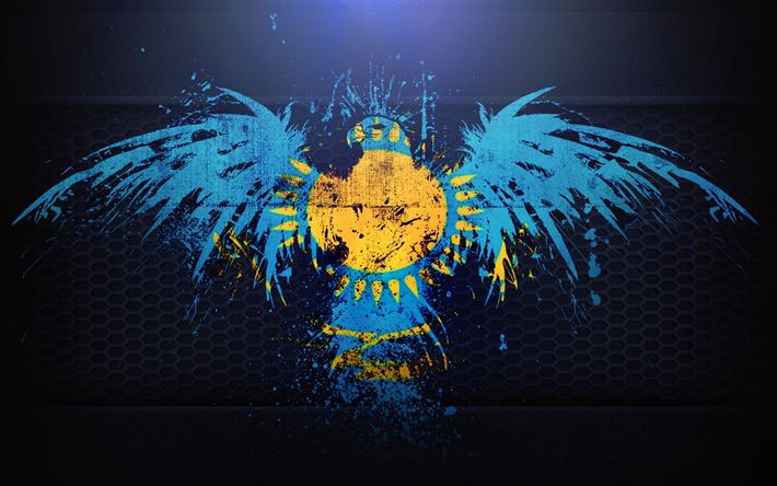 Download wallpapers Kazakhstan flag, grunge, art, Kazakh flag, eagle, flag of Kazakhstan, symbolism of Kazakhstan