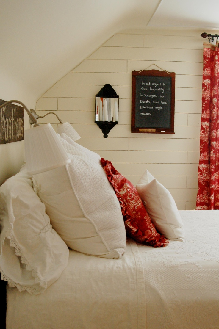 Is a barn a garden house greenhouses and a two bedroom guest house - Sherwin Williams Crisp Linen Miss Mustard Seed S Gorgeous Guest Bedroom