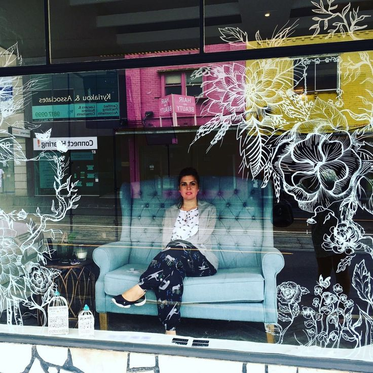 """Natural essence"" white felt-tip pen on #shop #window #Melbourne #elenaborghi #flowers #decoration #illustration #windowsdesign #windowshop"