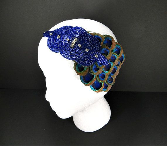 Art Deco 1920s Headband Great Gatsby Party Daisy by FlowerCouture, $35.00 #greatgatsby #downtownabbey #flapper #ladymary #daisybuchanan #costume #headband #hairaccessories #wedding #blue #peacock