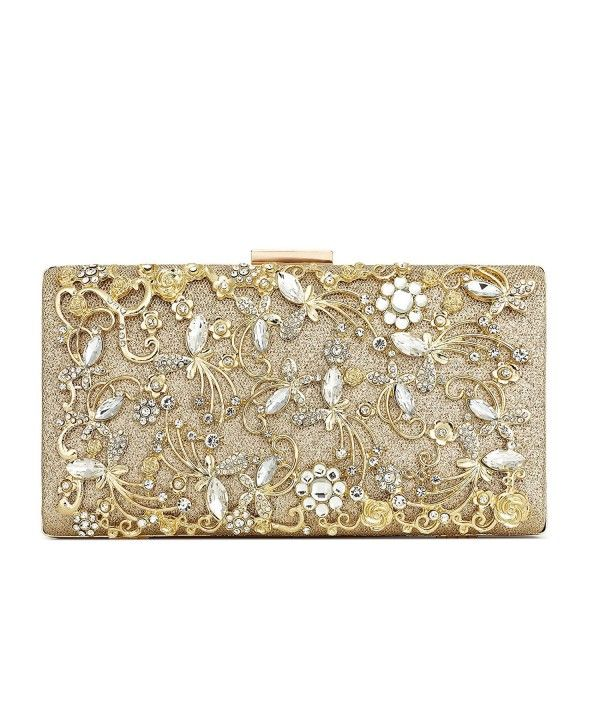 Womens Gold Clasp Metallic Party Prom Bridal Evening Envelope Purse Clutch Bag