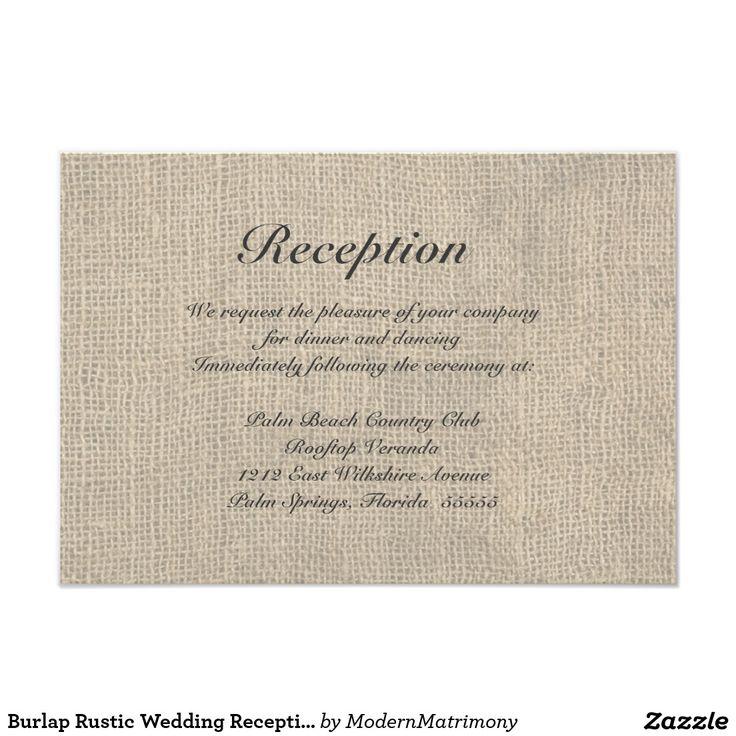 Burlap Rustic Wedding Reception Directions Card 211