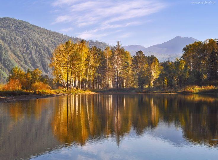 Jesień, Las, Jezioro, Odbicie, Wzgórza