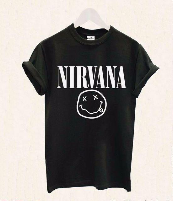 2016 femmes t-shirt Nirvana Smiley Rock Band impression coton Casual drôle Shirt pour Lady blanc noir Top Tee Hipster