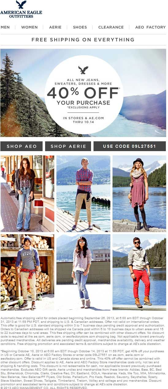 Pinned October 13th: 40% off at American Eagle Outfitters, or online via promo code 09L27551 #coupon via The #Coupons App #AEO