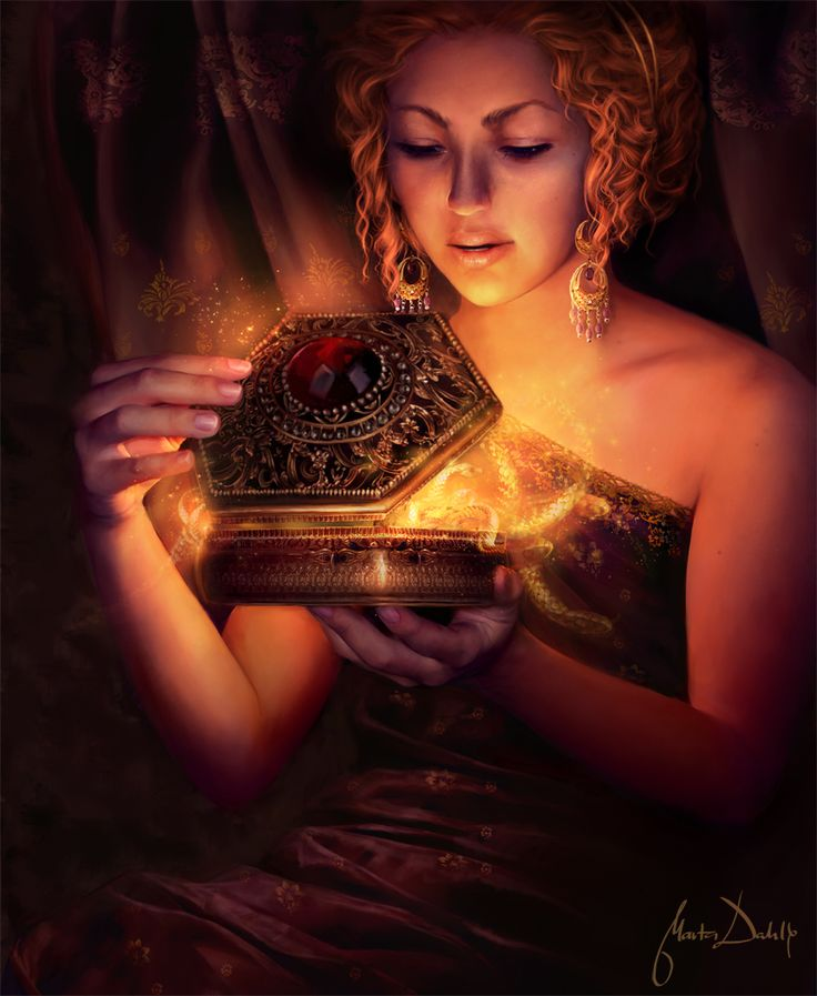 """Everyone knows the story of Pandora and imagined what she may have looked like and pictured the box she opened, well here she is """"Pandora"""" by Marta Dahlig opening that darn box. Just beautiful digital work."""