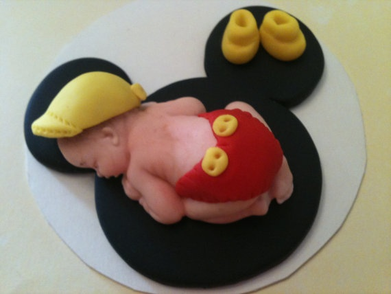Fondant Baby Boy on Mickey ears  Cake topper by anafeke on Etsy, $15.00