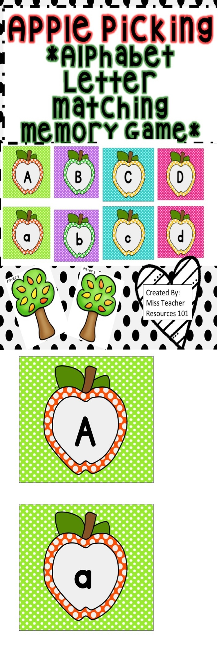 This is a FREE alphabet memory match center game ideal for pre-school, kindergarten, low-performing first graders, and ELL students. It is a colorful matching game that is used to match an uppercase letter with the corresponding lowercase letter.