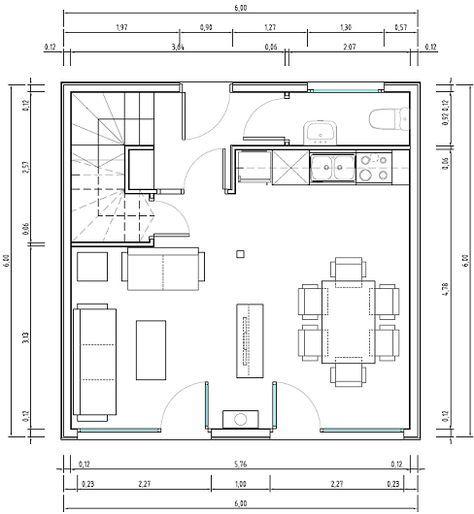 Planos de casas peque as y econ micas de dos pisos for Planos de cocinas de 6 metros cuadrados