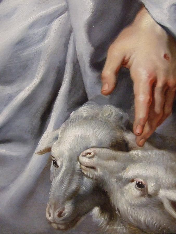 The Shepherd...I just love the Nail scars in the Lord's hand showing.....He watches over His Sheep, even if it is just one sheep