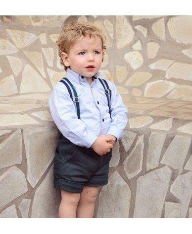 Conjunto para niño desde 3 meses hasta 30 meses. Camisa azul con botones en  verde y pantalón corto verde a juego con s…  a616eb7fd7d