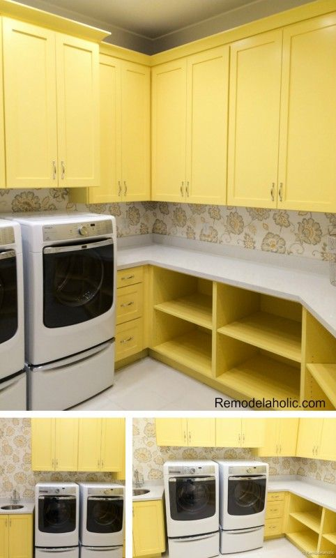 Yellow laundry room cabinets 100 laundry room ideas! Sewing station and gift wrap stations?! Yes!!!