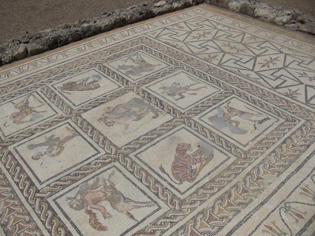 Preserved mosaic floors at Itálica (Roman ruins) in Santiponce, Spain