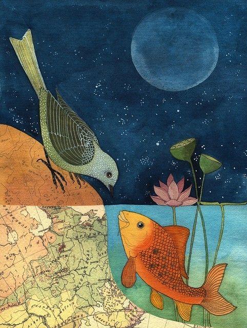 love this: Paintings Art, Watercolor, Birds Art, Art Blog, Fish Art, Illustration, Three Little Birds, Birds Of Paradise, Water Lilies
