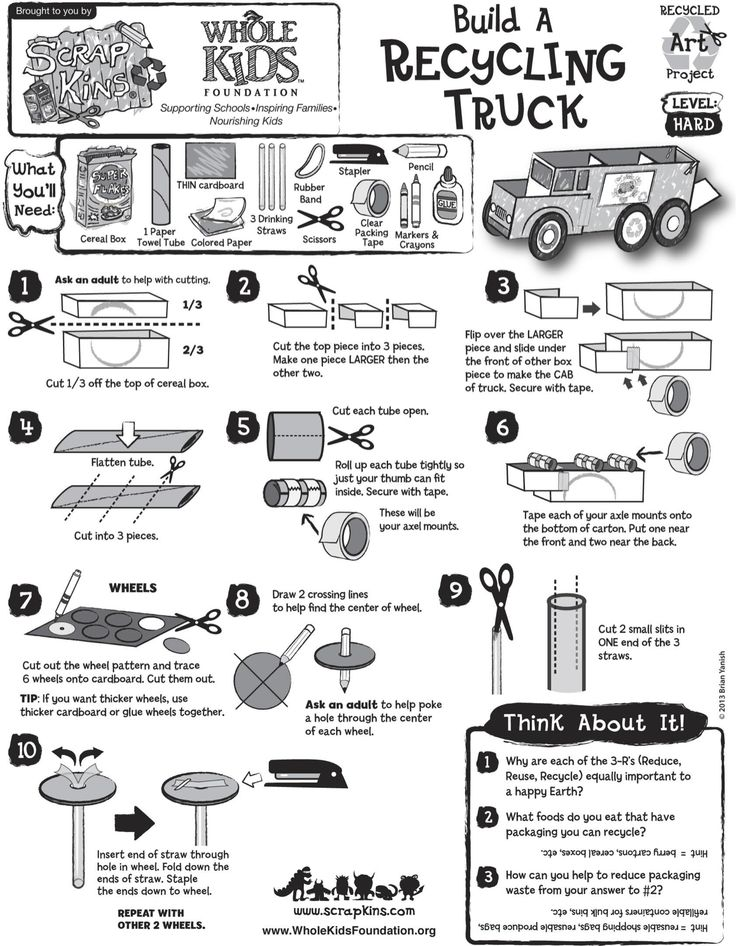Build a recycling truck with recycled materials for Waste material activity