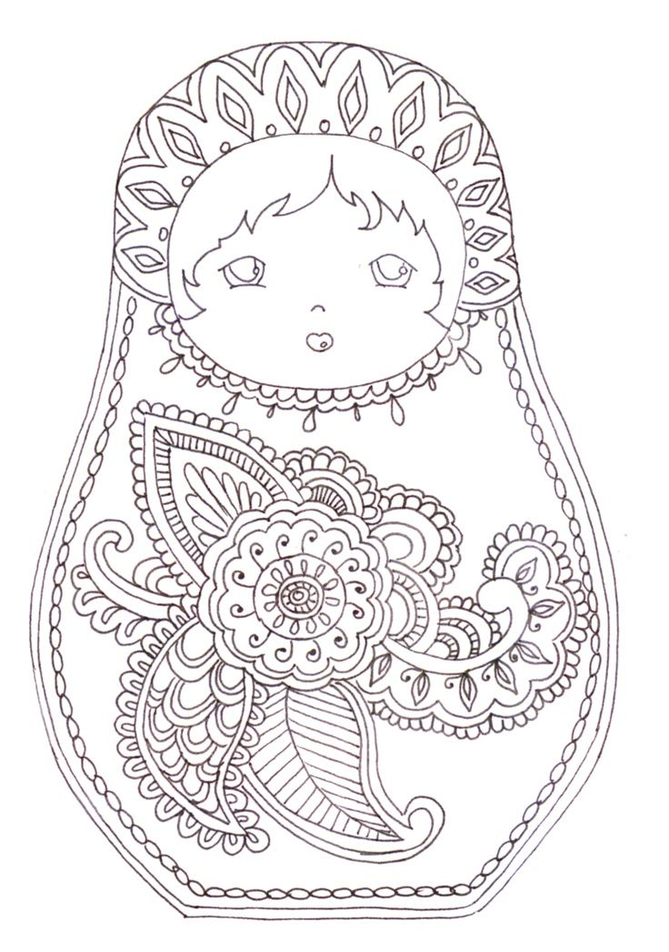 17 best images about coloriage anti stress on pinterest for Poupee russe