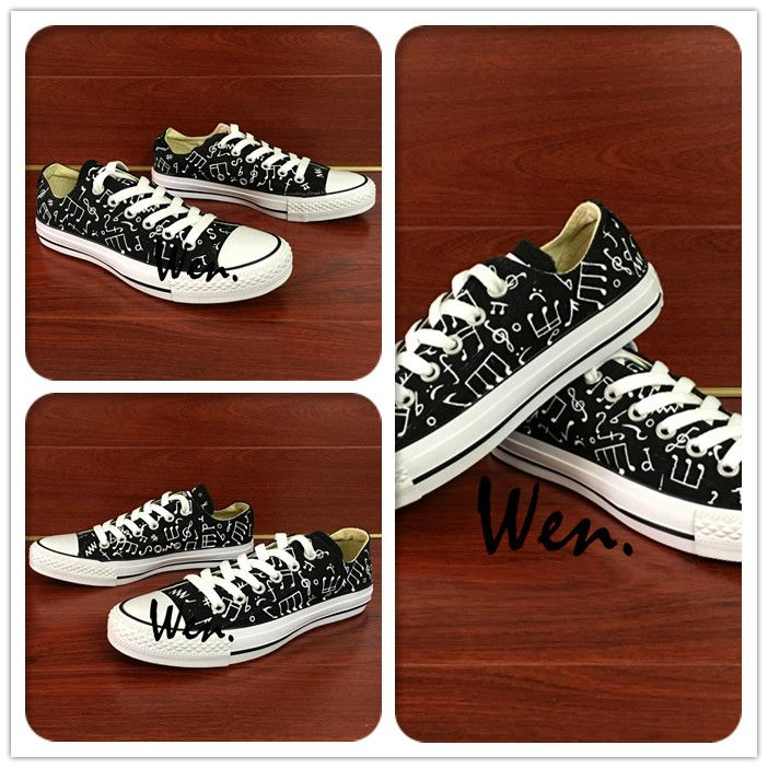 Wen Original Black Hand Painted Shoes Design Custom Music Notes Low Top Men  Women's Canvas Sneakers