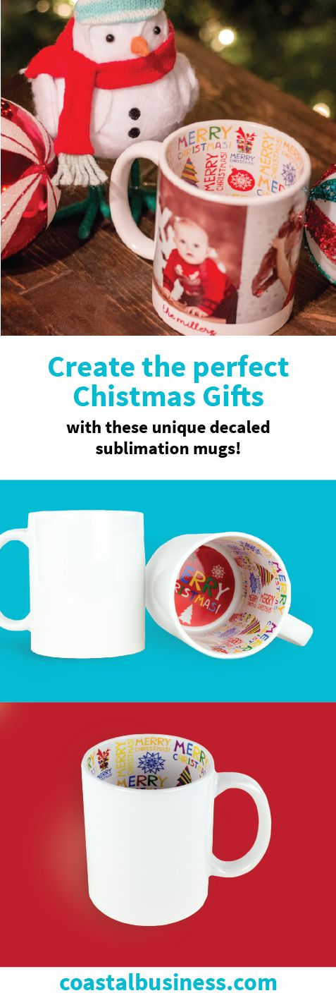 Create unique Christmas gifts for your customers with our new decal sublimation mugs!