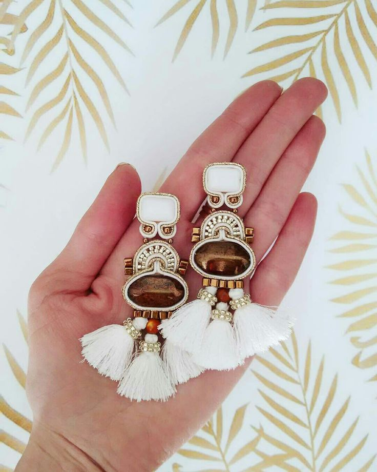 Soutache earrings white and gold with tassels