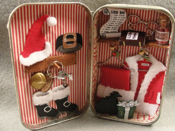 This Santas closet is a recycled altoids tin. Its a great Christmas decoration to give as a gift or keep for yourself! Its meant to sit on a shelf, desk, etc. A great trinket to get into the holiday spirit. I have many other altered altoids tins including different Santas workshops in my shop so take a look! This is not a toy! Shipping will take place 1-3 days after purchase. Shipping will be USPS First Class mail. Shipping only in the United States! Any shipping overcharges I ref...