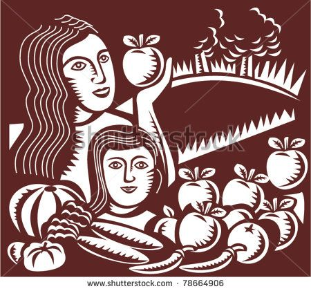 illustration of a woman mother holding an apple with child daughter looking at fruit and vegetables done in retro woodcut style - stock vector #mother #retro #illustration