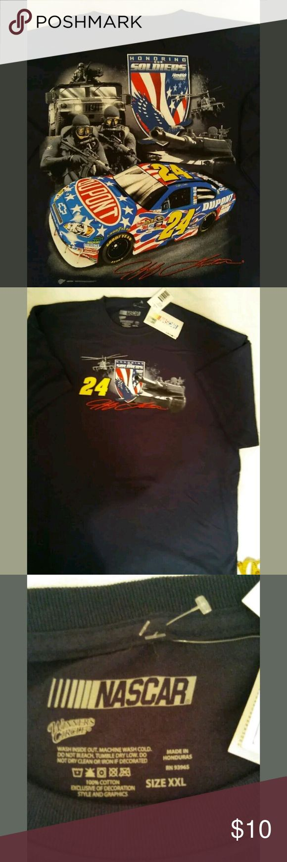 Nascar t-shirt XXL  short sleeve Nascar t shirt size XXL  short sleeve, it reads honering our soldiers.  24 , back is Jeff Gordon signature Nascar Shirts Tees - Short Sleeve