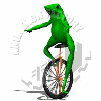 Frog on Unicycle Animated Clipart