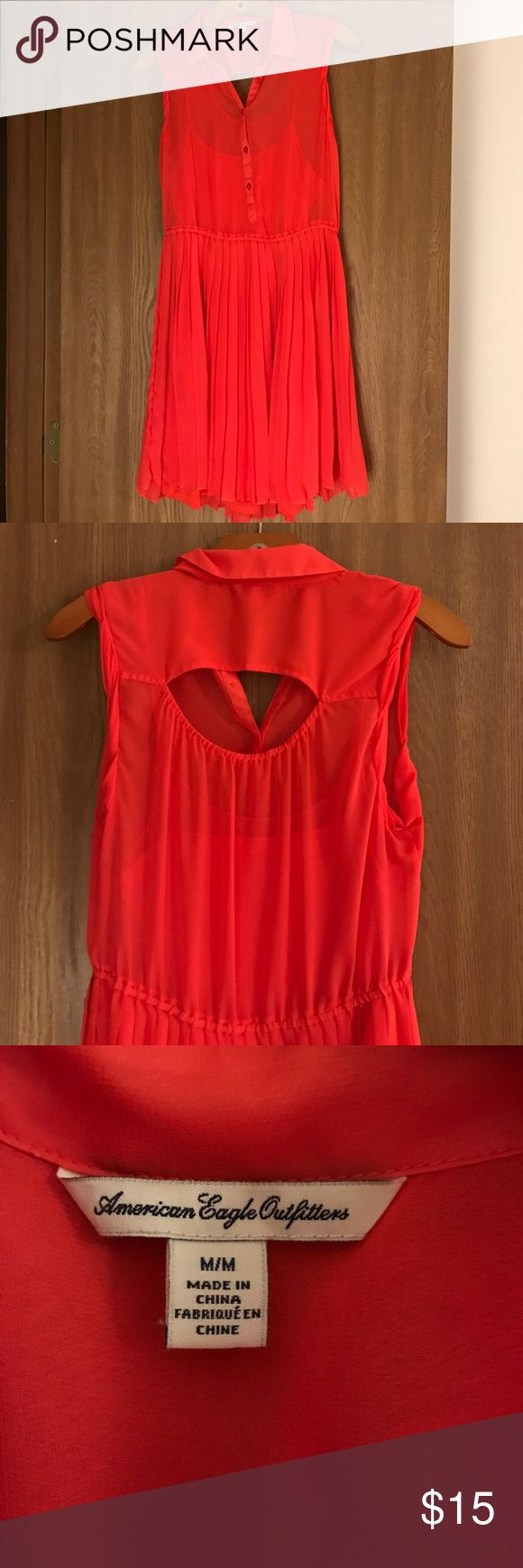 Chiffon Shirt Dress American Eagle sleeveless Chiffon shirt dress with a keyhole back and tank dress underlay. Worn once. Color is a red/orange American Eagle Outfitters Dresses Mini