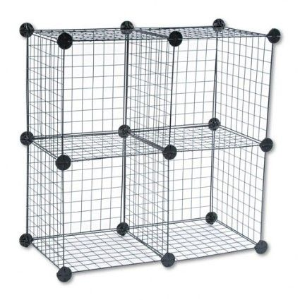Safco : Wire Cube Shelving System, 14w x 14d x 14h, Black -:- Sold as 2 Packs of - 5 - / - Total of 10 Each Assemble as a five-cube set, or as a four-cube