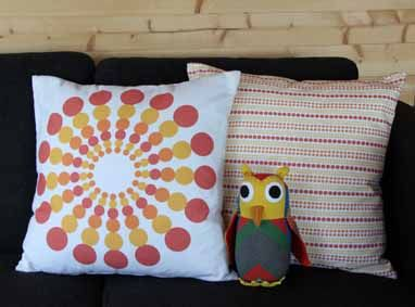 """Cushion covers """"Supernova"""" and """"Dots"""" orange/yellow by toodeloo"""