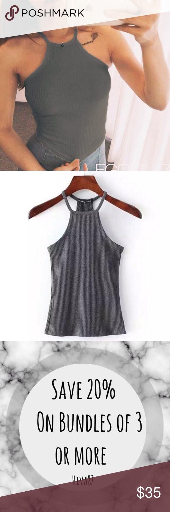 🌹COMING SOON🌹Dark Grey Ribbed Halter Top 🌹NOT AVAILABLE YET! anyone who likes will be notified once available for sale!!🌹 Brandy Melville Tops Tank Tops