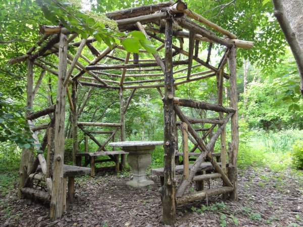 Gazebo Of Twigs And Saplings Small Budget Gardening