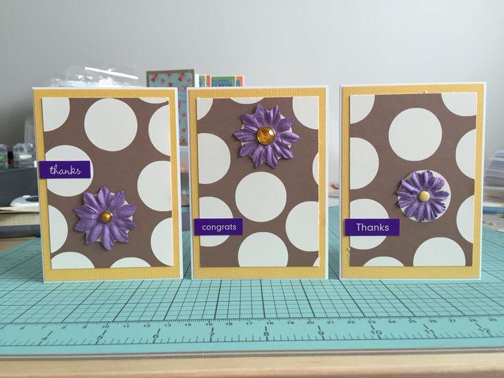 Yellow & purple polka dot cards