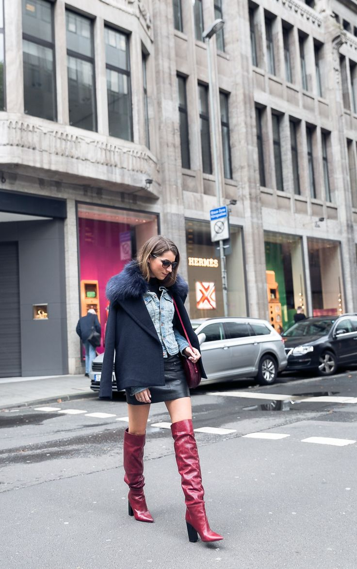 Layering :: Fake Fur Jacke über Jeansjacke & rote Slouch Boots